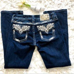 Miss Me Mid Rise Easy Bootcut Rhinestones Jeans 28